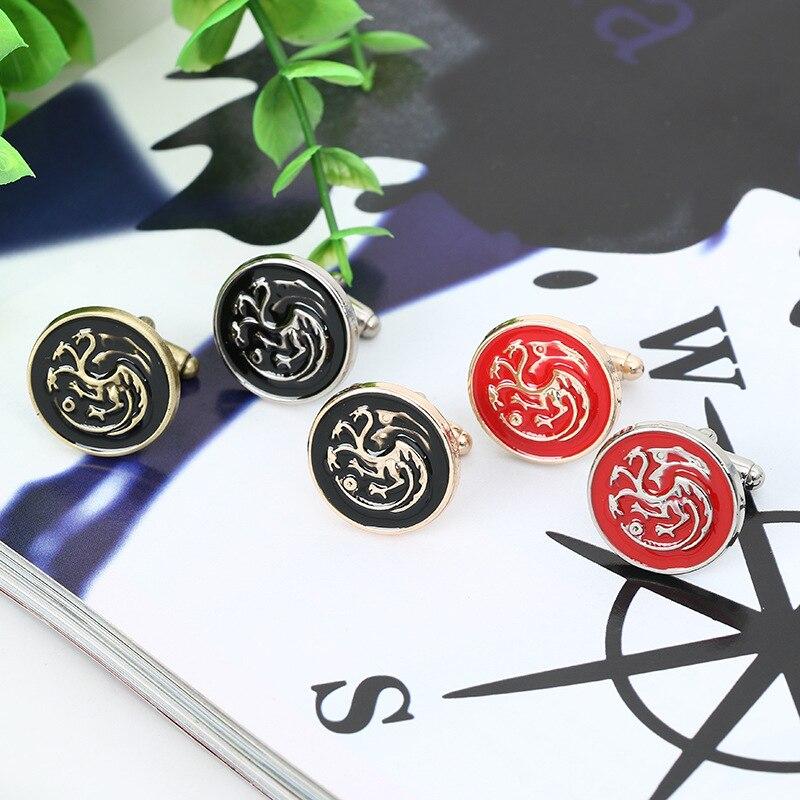 Movie Jewelry Game Of Thrones House Targaryen Dragon Cufflinks For Mens Vintage Brand Cuff Buttons Gemelos Shirt Cuff Links