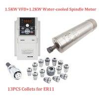 36000 об./мин. 600 Гц фрезерные мотор шпинделя комплект 1.2KW с водяным охлаждением шпинделя 62x202 мм + 1.5KW VFD инвертор + ER11 собирает + 2 м кабели