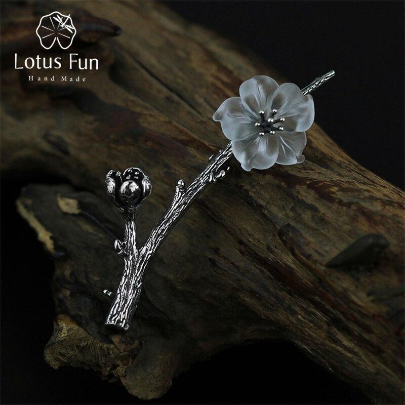 Lotus Plaisir Réel 925 Sterling Argent Naturel Quartz Designer Main Fine Jewelry Fleur sous la Pluie Conception Femmes Broches Pin