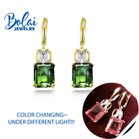Bolaijewelry,Amazing!Clasp dangling earring with color change dispore created gemstone fine jewlery for women best gift