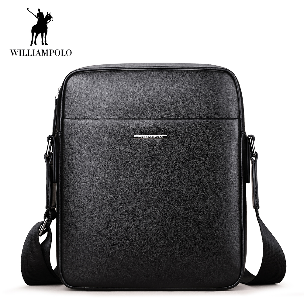 WilliamPOLO Shoulder Bag Men Genuine Leather Briefcase Black Crossbody Sling Messenger Business Bag Adjustable Shoulder Strap 44 tourbon tactical rifle gun sling with swivels shotgun carrying shoulder strap black genuine leather belt length adjustable