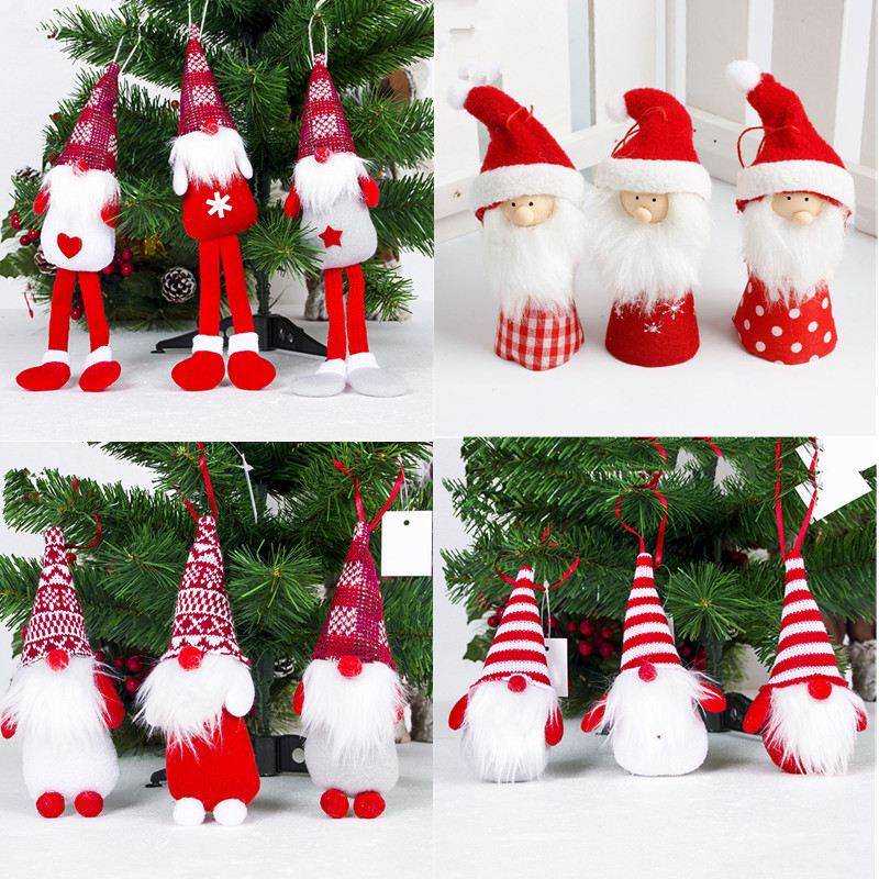 1pc Cute Red Hat Santa Clause Doll Christmas Tree Ornament Decoration Pendant Toy Xmas Party Christmas Decorations for Home 2019