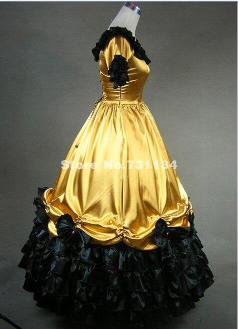 Красивые платья с короткими рукавами золотистого цвета для вечеринок Готическая викторианская Лолита платья для дам включают в себя нижнюю юбку