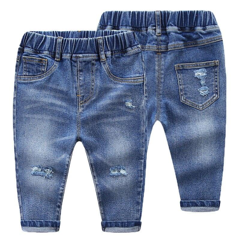 Printemps et automne enfants Jeans garçons filles mode trous Jeans enfants Jeans pour garçons pantalon denim décontracté 2-7Y bambin de haute qualité