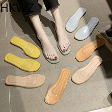2019 summer brand new wild transparent sandals holiday comfortable flat slippers outside wearing fashion shoes   zapatos mujer