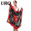 1 PC 90*90 cm estilo Europa hot balde quadrado impresso lenços de seda de cetim mulher bandana S9A9140