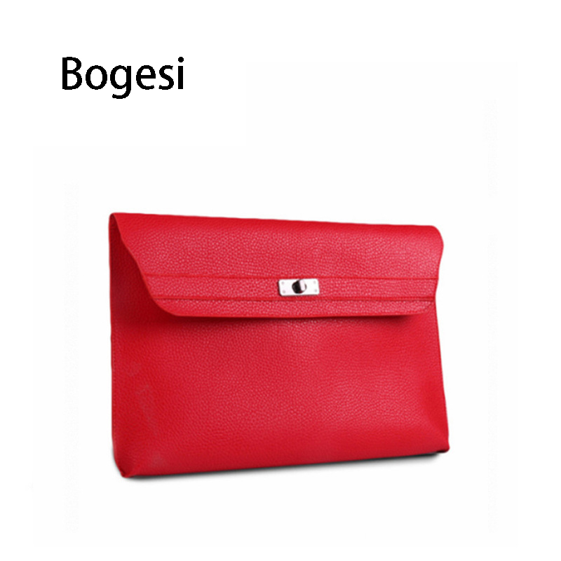 Bogesi New 2018 Fashion Luxury Litchi pattern PU Leather Women's Clutch Bags Large Capacity Envelope Bag Lady Party Evening Bag