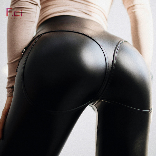 FREICICI Women Sexy PU leather Leggings with Front  Zipper Push Up Faux Leather Pants Latex Rubber Pants Jeggings Black