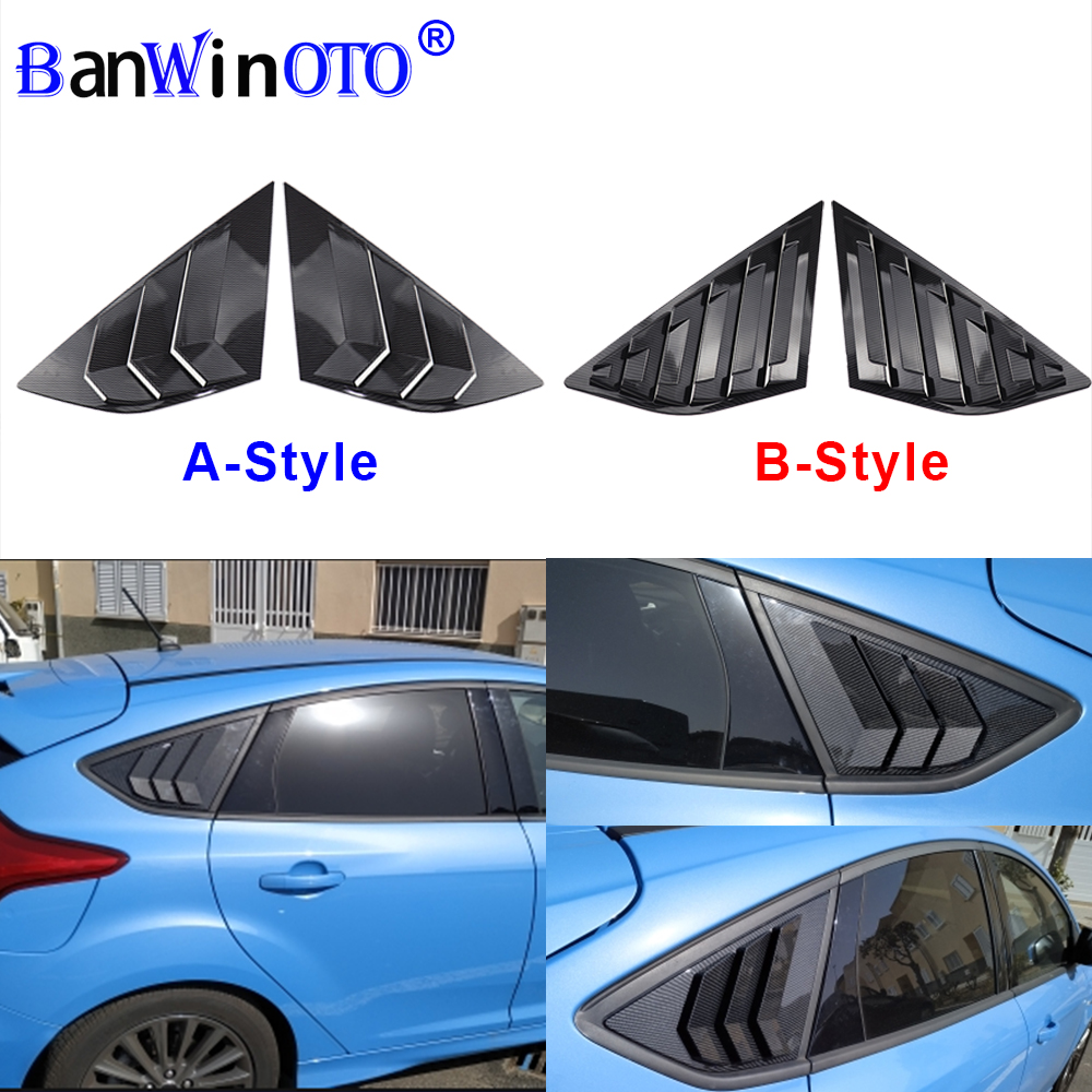 2x Glossy Black Quarter Window Louvers Scoop For Ford Focus ST RS MK3 Hatchback