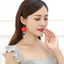 Hot Style European and American Temperament Fashionable Red Wood Block Geometric Personality Delicate Dangle Earrings  Bohemian