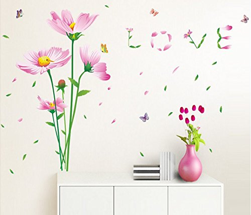 ᗐDIY Pink Flower Petals Leaves with Wind Wall Art Stickers for ...