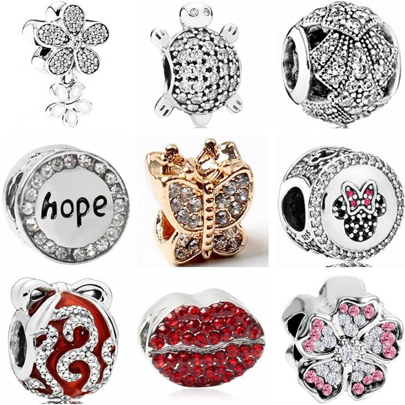 Beads Btuamb Punk Style Carved Flower Handbag Firework Mickey & Minnie Cartoon Charm Beads Fit Pandora Original Bracelets Diy Jewelry