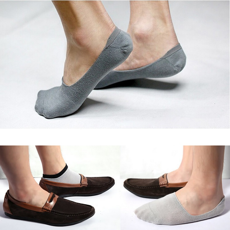 5 Pairs Men Casual Cotton Loafer Boat Non-Slip Invisible Low Cut No Show Socks