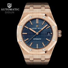 free shipping Luxury brand DIDUN famous style military style Automatic Blue Dial 18kt rose Gold Men's Watch