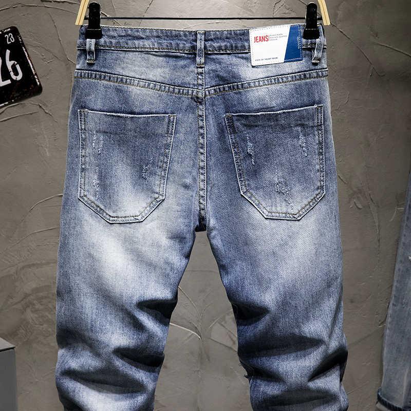 KSTUN Jeans Strappati Uomini Ritagliata Jeans Blu Stretch Conici Distressed Patchwork Sfilacciato Cowboy Denim Pantaloni Casaul Mens Jean Homme
