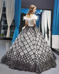 Image 2 - J66758 jancember quinceanera robes 15 robe de bal hors de lépaule bateau cou étage longueur robe de bal robes de quinceaneras