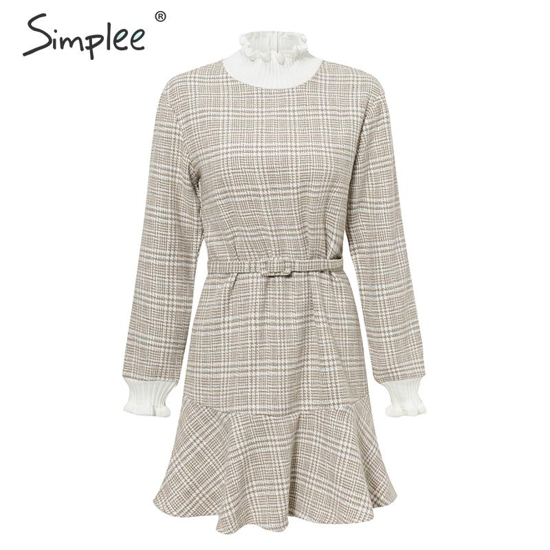 Simplee Elegant plaid dress women Turtle neck knitted short dress female Ruffle sashes vintage autumn office ladies vestidos 11