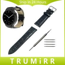 18mm cocodrilo correa de piel genuina para huawei watch asus zenwatch 2 wi502q 45mm 2015 inteligente reloj de la venda de la pulsera de las mujeres