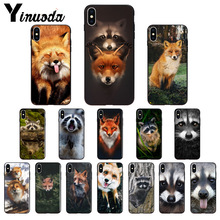 Yinuoda Animal Raccoon Fox Silicone Soft TPU black Phone Case for Apple iPhone 8 7 6 6S Plus X XS MAX 5 5S SE XR Mobile Cover yinuoda animals dogs dachshund soft tpu phone case for apple iphone 8 7 6 6s plus x xs max 5 5s se xr mobile cover