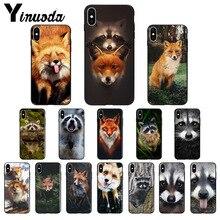 Yinuoda Animal Raccoon Fox Silicone Soft TPU black Phone Case for Apple iPhone 8