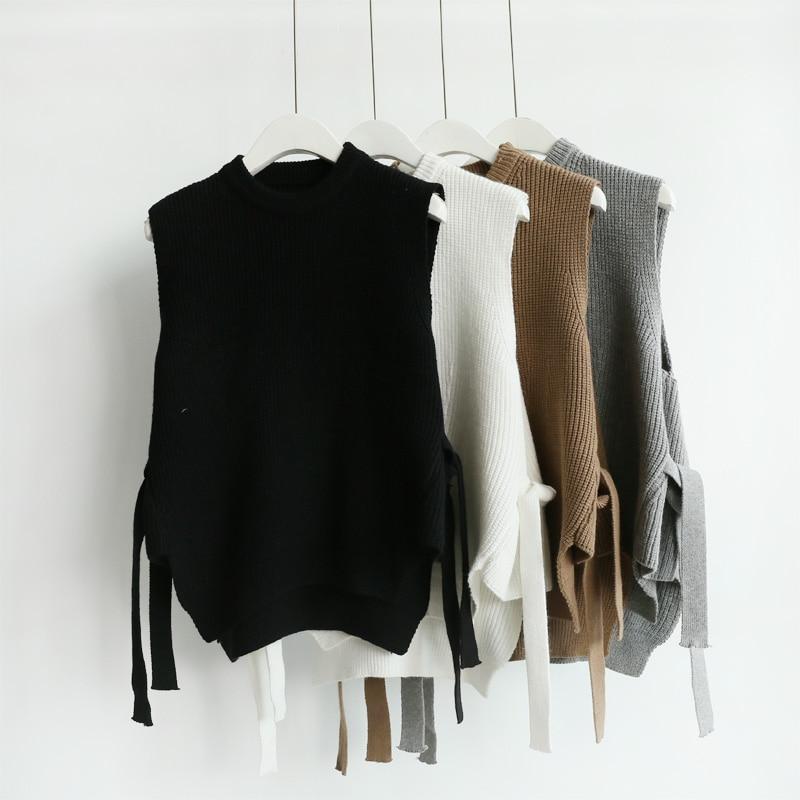 Új divat női kötött mellény pulóverek laza ujjatlan mellény - Női ruházat