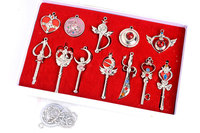 Japan Anime Sailor Moon 12PCS LOT Metal Pendant Ring Brooches PVC Action Figure Cosplay Toys Free
