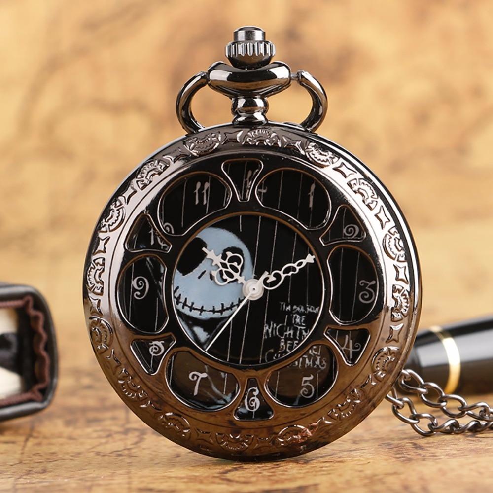 Retro Steampunk Tim Burtons Nightmare Before Christmas Hollow Quartz Pocket Watch For Jack Skellington And Sally Men Women Gift