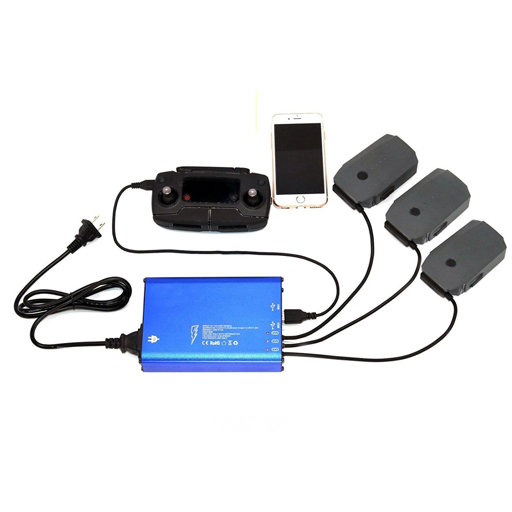 DJI Mavic Pro/Platinum 5 In 1 Rapid Battery Charger Smart Multi Battery Intelligent Charging Hub With Ground Connection