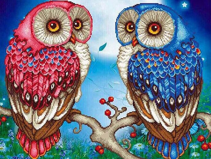 "Full circular Diamond embroidery""pink blue owl""5D DIY diamond painting cross stitch mosaic diamond picture diamond gift"