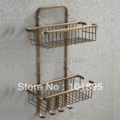 Retail - Luxury Brass Bathroom Shelves, Bronze Color  Double Layer Holder with Wall Mounted , Free Shipping L16682 1 piece free shipping anodizing aluminium amplifiers black wall mounted distribution case 80x234x250mm