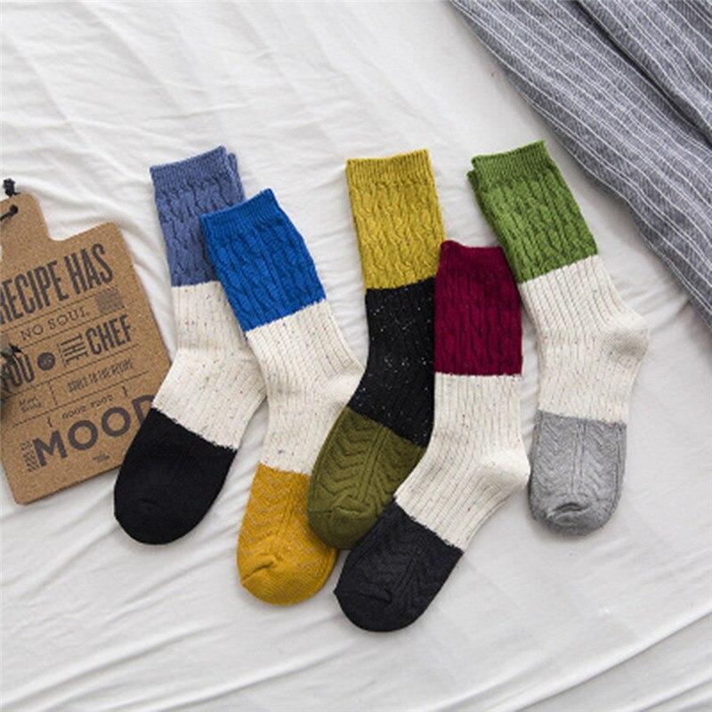 Women Girls Stripe Socks Mid Tube Socks Cotton Retro Style Fashion Sock #A