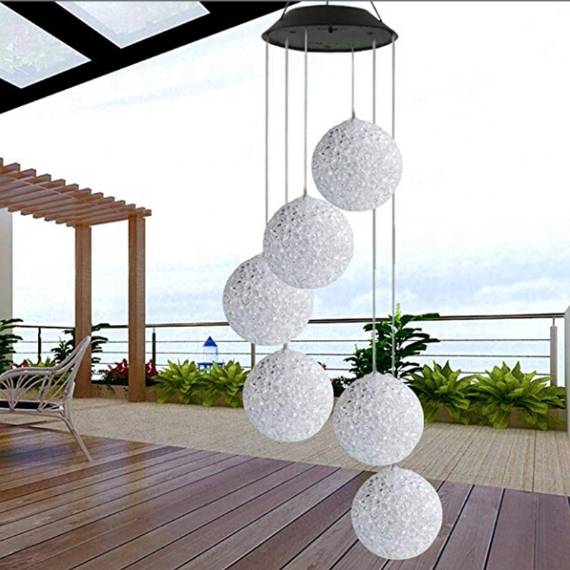 LED Solar Multicolor Hanging Lamp Waterproof Wind Bell Light Outdoor Festival Party Lighting Garden Night Decoration Chandelier