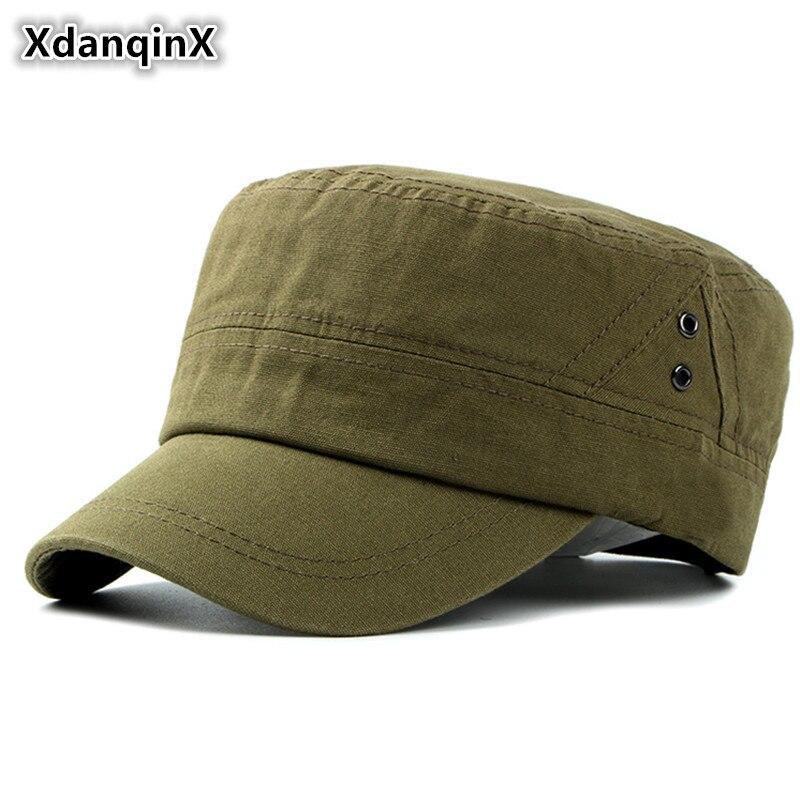 XdanqinX Men's Hat Autumn Winter Quality 100% Cotton Military Hats Simple Casual Flat Cap Male Bone Adjustable Size Brand Caps