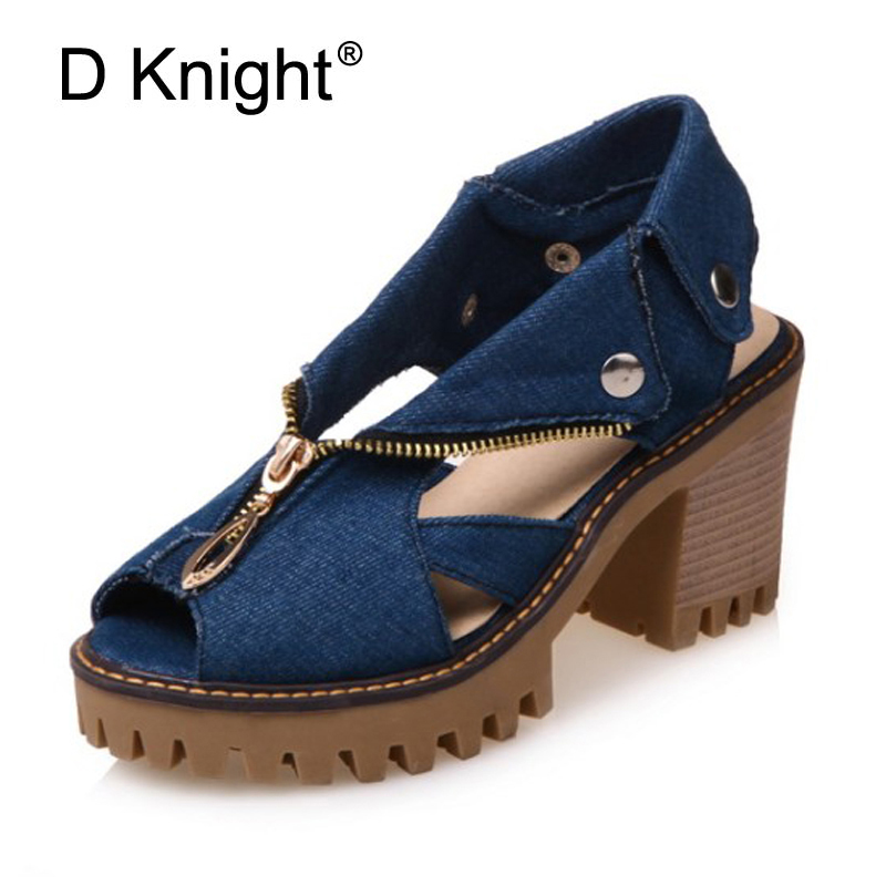 2018 Summer Women Fashion Denim Sandals Gladiator Thick High Heels Open Toe Blue Platform Jeans Shoes For Women Large Size 43 12 wangcangli seven point jeans summer new slim was thin jeans for women blue girls stretching skinny jeans elastic large size