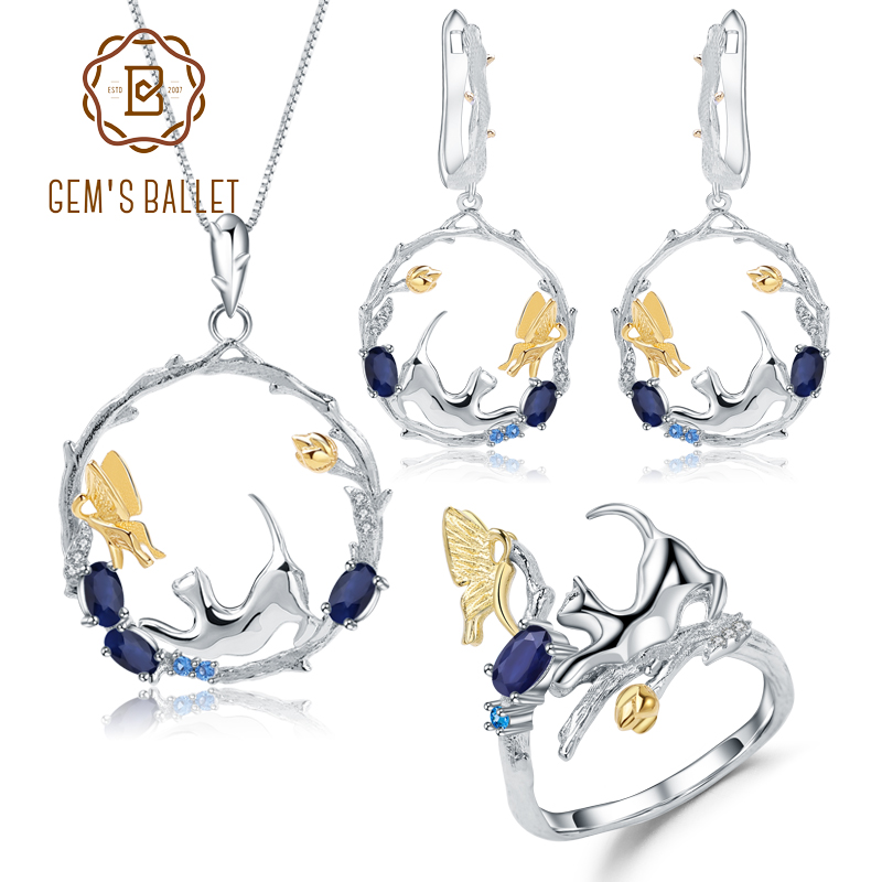 GEM S BALLET Natural Blue Sapphire Handmade Cat Cupid Jewelry Set 925 Sterling Silver Ring Earrings