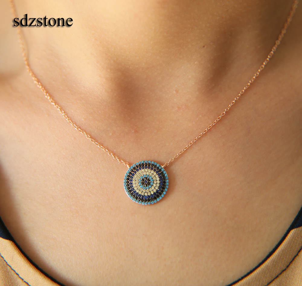 NEW Authentic 925 sterling silver turkish evil eye micro pave new rose gold necklace new authentic 925 sterling silver evil eye luxury women fashion cz blue stone silver necklace