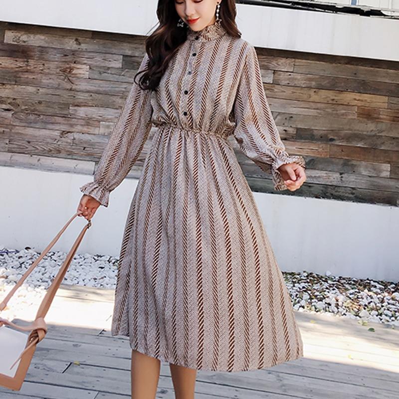 Women chiffon dress 2019 spring autumn female vintage print elegant a-line dress long sleeve loose casual office lady dress 1