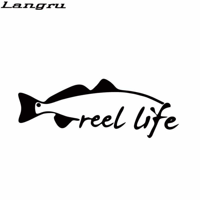 Langru offre spéciale autocollant de voiture pour bobine vie pêche truite poisson rouge appât tige voiture style décalque fenêtre pare-chocs vinyle JDM