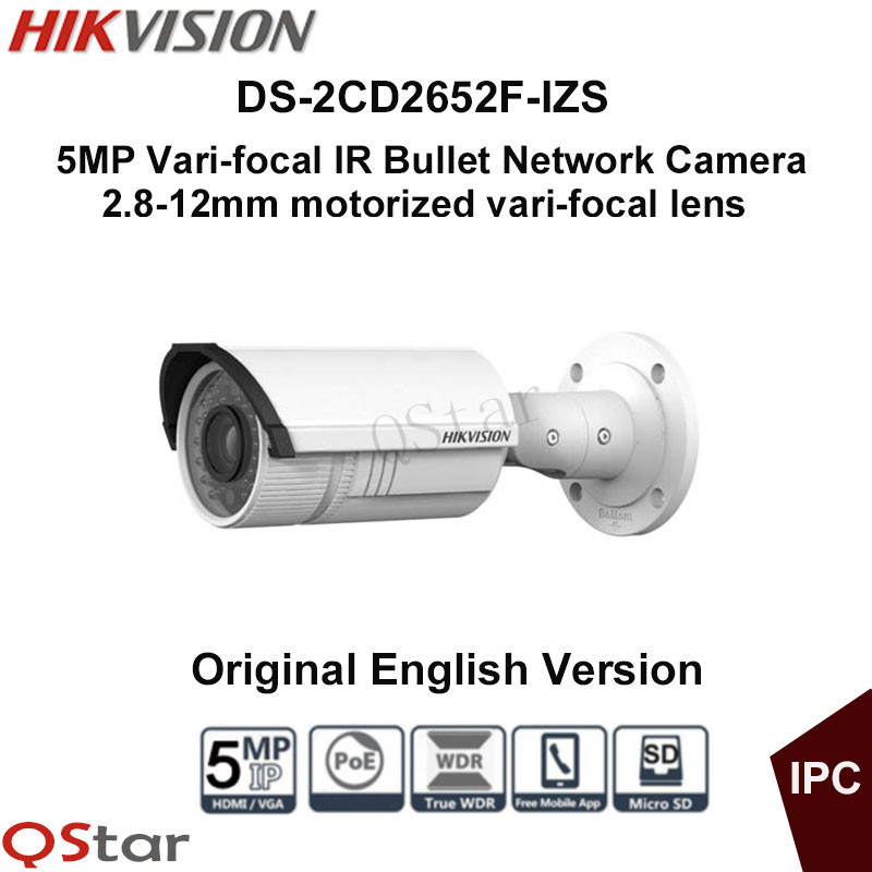 Hikvision Original English Version Surveillance Camera DS-2CD2652F-IZS 5MP Bullet IP Camera Vari-focal Motorized CCTV Camera 2016 hikvision new arrive english version ip camera ds 2cd2t52 i5 5mp cctv camera 50m ir surveillance camera