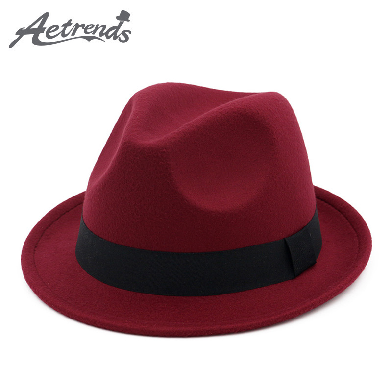 [AETRENDS] 2017 New Winter Fedora Hat Men Women Wool Felt Jazz Hat Vintage Panama Cap Z-5951