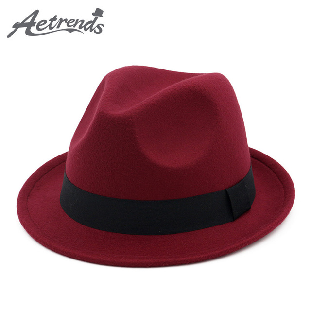 0e9385061e8a7  AETRENDS 2017 Nuevo invierno sombrero Fedora sombrero hombres mujeres de  fieltro de lana de Jazz
