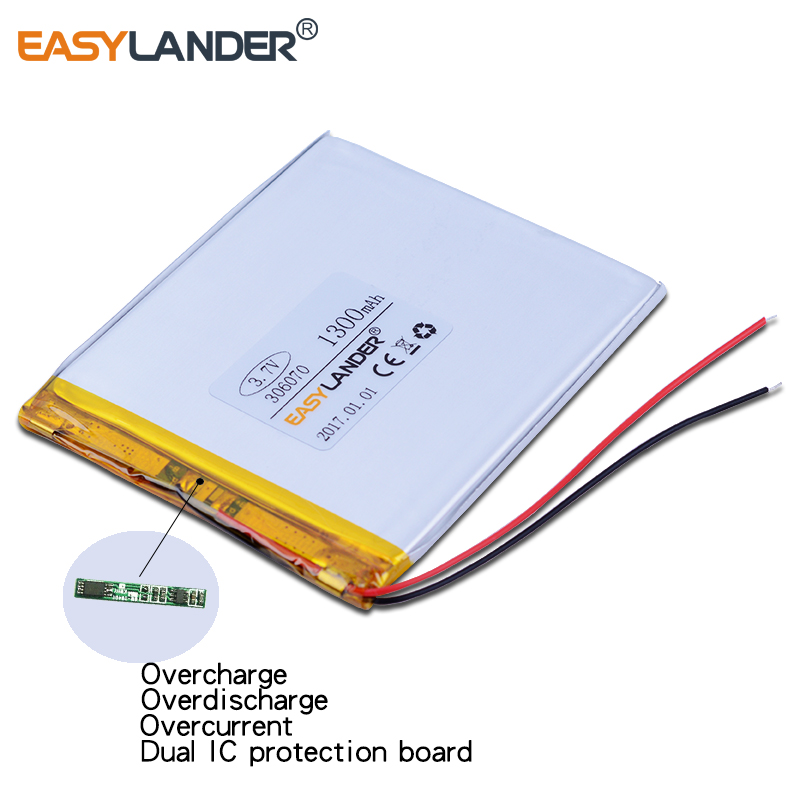 10pcs 306070 3.7V 1300mAh Rechargeable li-Polymer Battery For Digma s605 GPS Vedio E-Book Tablet Power Bank 036070 PocketBook 3 7v 2500mah lithium polymer lipo rechargeable battery cells power for pad gps psp vedio game e book tablet pc power bank 405080