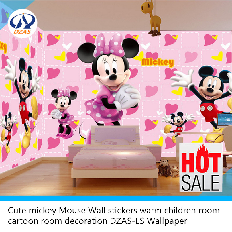 Cute mickey Mouse Wall stickers warm children room cartoon room decoration DZAS-LS Wallpaper 3d dinosaur removable wall stickers animals room window decoration