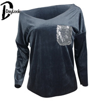 Daylook 2017 Autunno Nuove Donne Camicie Paillettes Patchwork Tasca Bling Bling Manica Lunga Con Scollo A V Casual Top All Partita T-Shirt