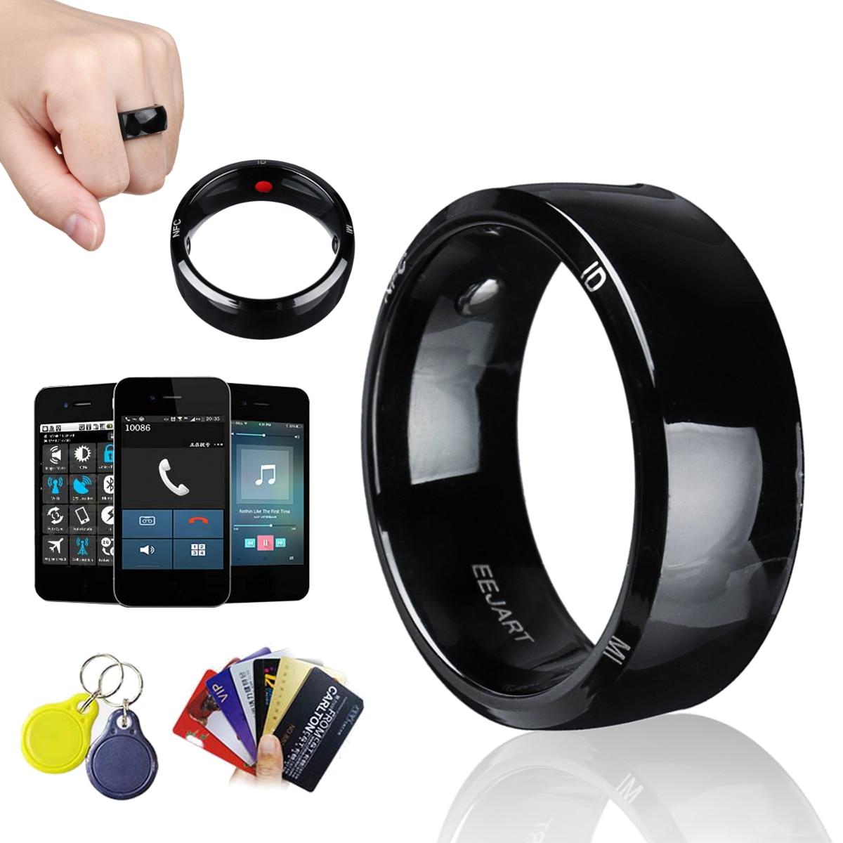 Schwarz Smart-Ring Wasserdicht für Hohe Geschwindigkeit NFC Elektronik Telefon mit aAndroid Kleine Magische Ring Entsperren Gesundheit Schutz Ringe