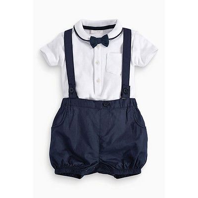 Fashion Little gentleman Newborn Baby Boy Bow Tie+T-shirt+Bib Pants Set Clothes 12-36M Cotton kids clothing set plaid shirt with grey vest gentleman baby clothes with bow and casual pants 3pcs set for newborn clothes