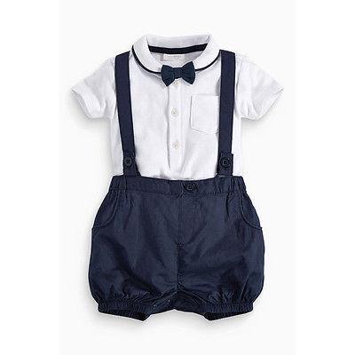 Fashion Little gentleman Newborn Baby Boy Bow Tie+T-shirt+Bib Pants Set Clothes 12-36M Cotton 2pcs set baby clothes set boy
