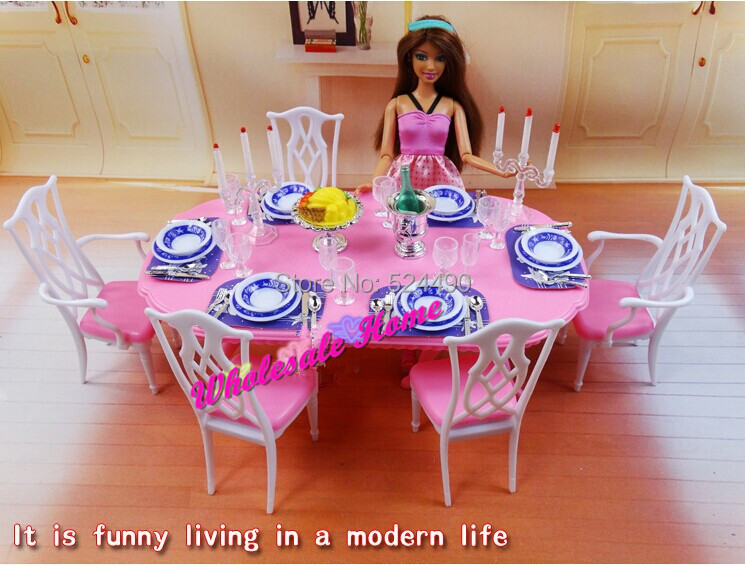 Blue & White Dining Table Set / Dollhouse Dining Room Furniture ...