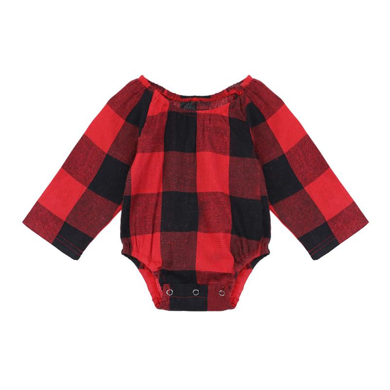 Spring Newborn Baby Girls O-Neck Red Plaid Long Sleeve Romper Jumpsuit Baby Girls Cotton Casual Outerwear Outfits
