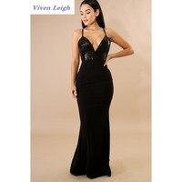 2018 Spring Elegant Evening Party Long Sequin Dress Strap Deep V Neck Cheap Evening Gowns Sleeveless